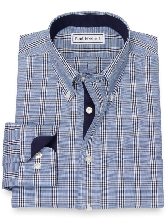 Slim Fit Non-Iron Cotton Pinpoint Glen Plaid Dress Shirt with Contrast Trim