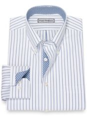Slim Fit Impeccable Non-Iron Cotton Pinpoint Stripe Dress Shirt with Trim