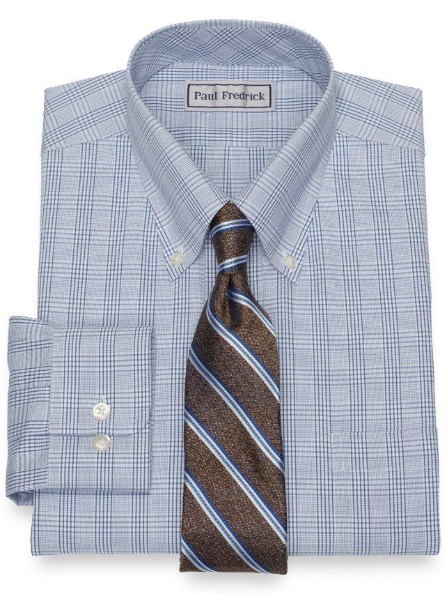 Slim Fit Non-Iron Impeccable Cotton Glen Plaid Dress Shirt