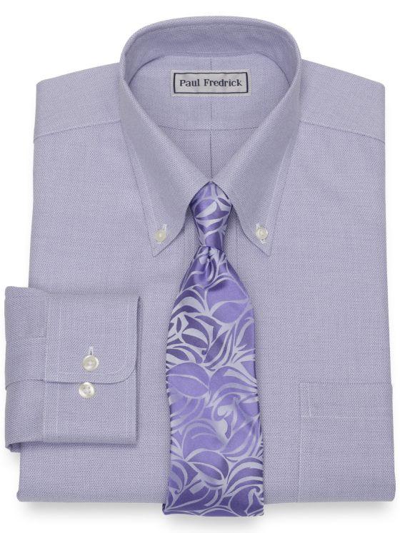 Impeccable Non-Iron Cotton Jaspe Solid Color Dress Shirt