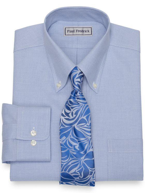 Slim Fit Impeccable Non-Iron Cotton Jaspe Solid Color Dress Shirt