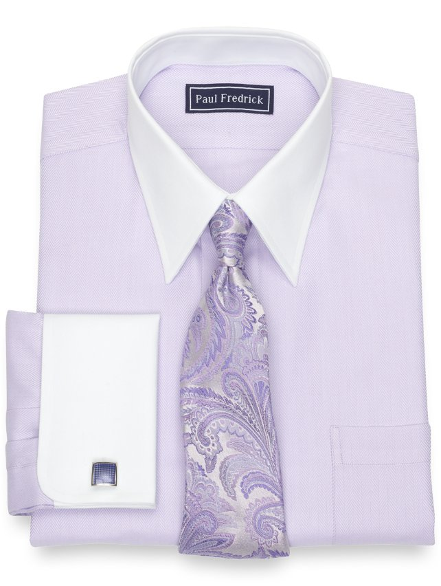 Slim Fit Cotton Herringbone Dress Shirt