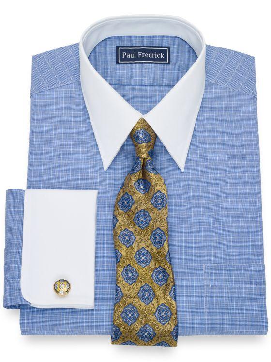 Slim Fit Pure Cotton Broadcloth Glen Plaid Dress Shirt