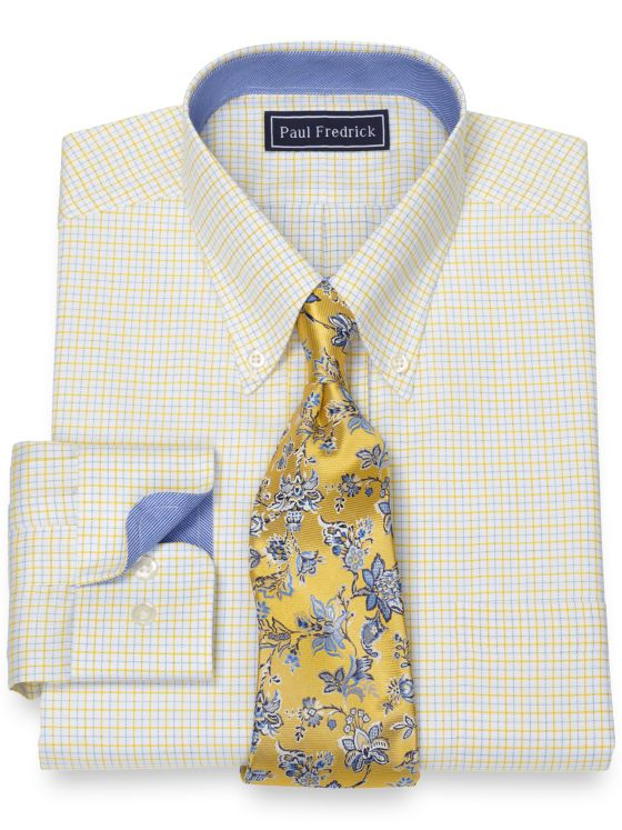 Pure Cotton Broadcloth Tattersall Dress Shirt with Contrast Trim