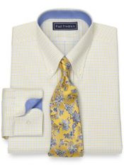 Slim Fit Pure Cotton Broadcloth Tattersall Dress Shirt with Contrast Trim
