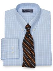 Slim Fit Pure Cotton Broadcloth Windowpane Dress Shirt