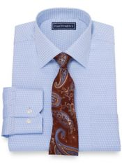 Pure Cotton Broadcloth Deco Pattern Dress Shirt