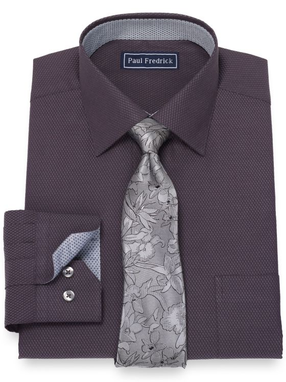 Slim Fit Pure Cotton Broadcloth Textured Pattern Dress Shirt with Contrast Trim