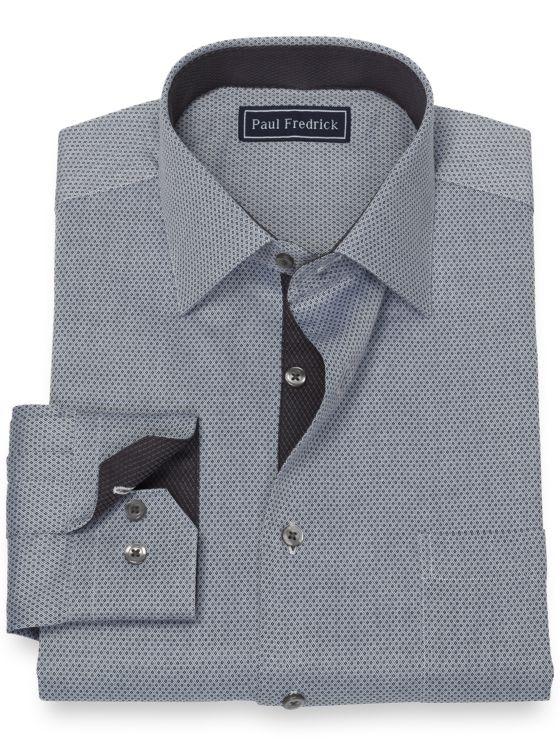 Pure Cotton Broadcloth Mini Diamond Dress Shirt with Contrast Trim