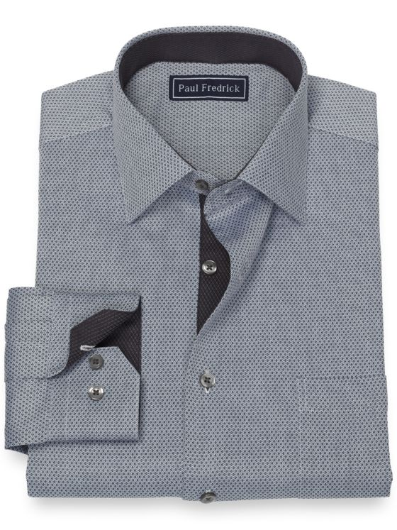 Slim Fit Pure Cotton Broadcloth Mini Diamond Dress Shirt with Contrast Trim