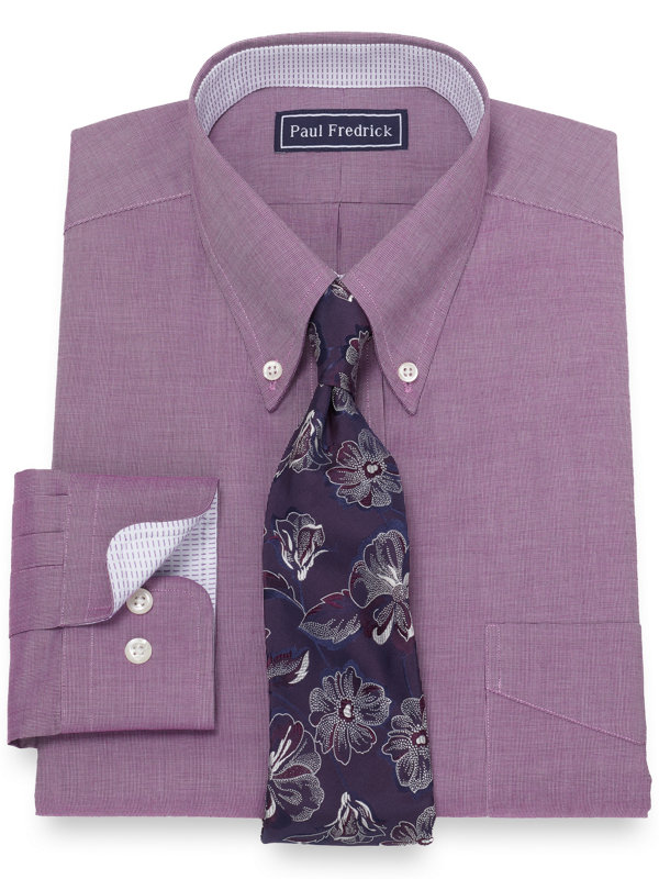 Slim Fit Pure Cotton Broadcloth Solid Color Dress Shirt with Contrast Trim