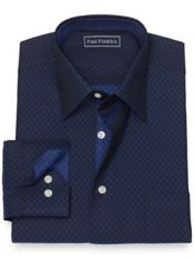 Pure Cotton Broadcloth Deco Pattern Dress Shirt with Contrast Trim