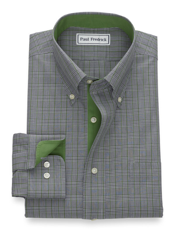 Slim Fit Non-Iron Pinpoint Glen Plaid Dress Shirt with Contrast Trim