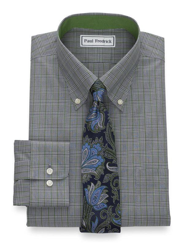 Slim Fit Non-Iron Pinpoint Glen Plaid Dress Shirt with Contrast Trim