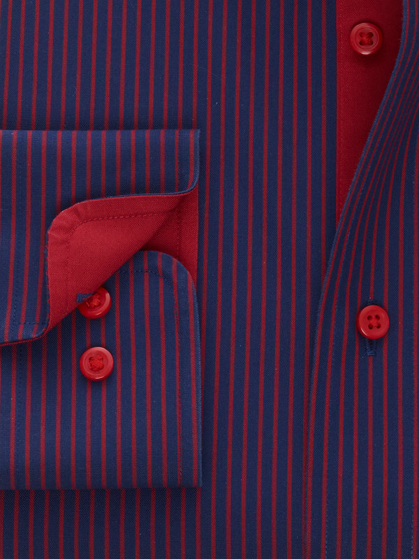 Tailored Fit Non-Iron Pinpoint Stripe Dress Shirt with Contrast Trim