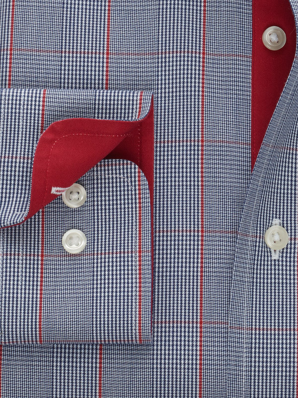 Non-Iron Cotton Glen Plaid Dress Shirt with Contrast Trim