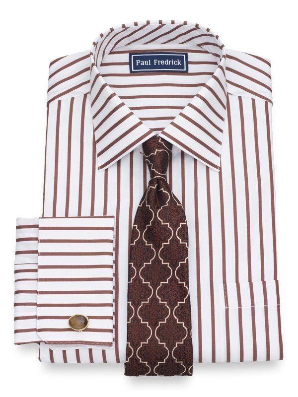 Slim Fit Pure Cotton Satin Stripe French Cuff Dress Shirt