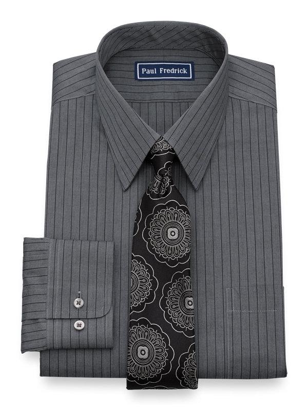 Pure Cotton Fine Line Stripe Button Cuff Dress Shirt