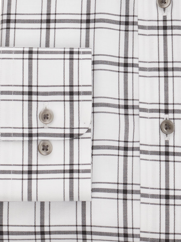Pure Cotton Windowpane Button Cuff Dress Shirt