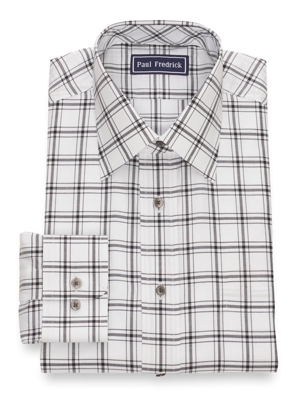 Slim Fit Pure Cotton Windowpane Button Cuff Dress Shirt