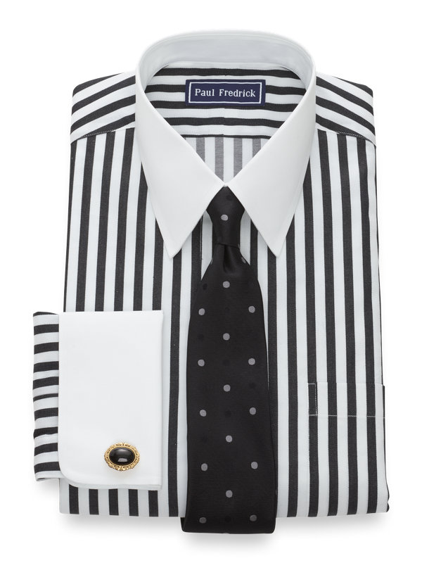 Slim Fit Pure Cotton Satin Stripe French Cuff Dress Shirt