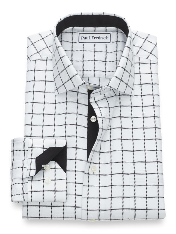 Tailored Fit Non-Iron Cotton Windowpane Dress Shirt with Contrast Trim