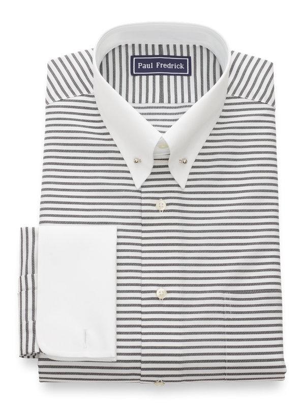 Pure Cotton Horizontal Stripe French Cuff Dress Shirt