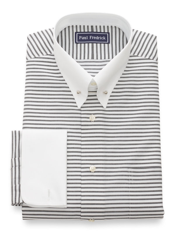 Slim Fit Pure Cotton Horizontal Stripe French Cuff Dress Shirt