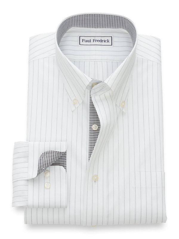 Non-Iron Cotton Pinpoint Fine Line Stripe Dress Shirt with Contrast Trim
