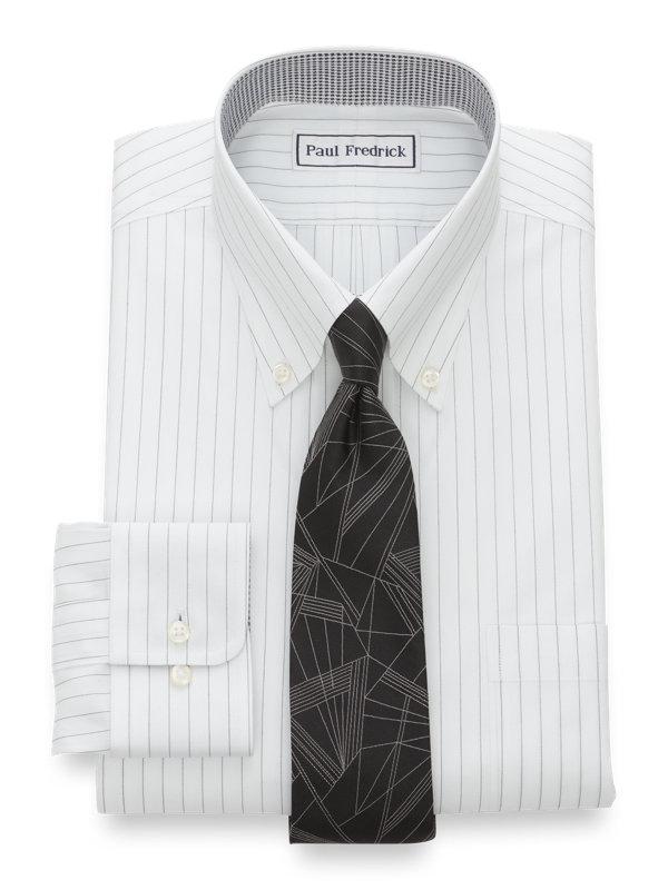 Non-Iron Cotton Pinpoint Fine Line Stripe Dress Shirt with Contrast Trim