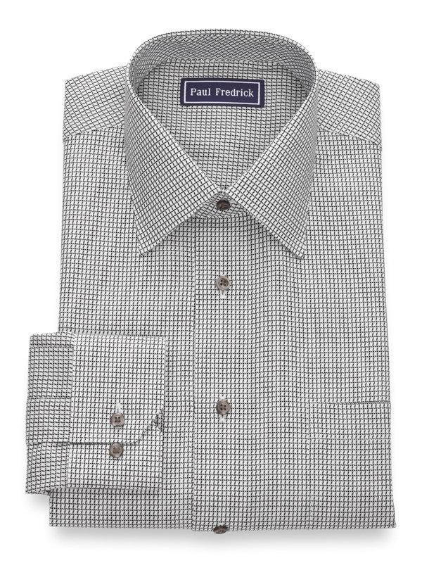 Slim Fit Pure Cotton Mini Check Button Cuff Dress Shirt