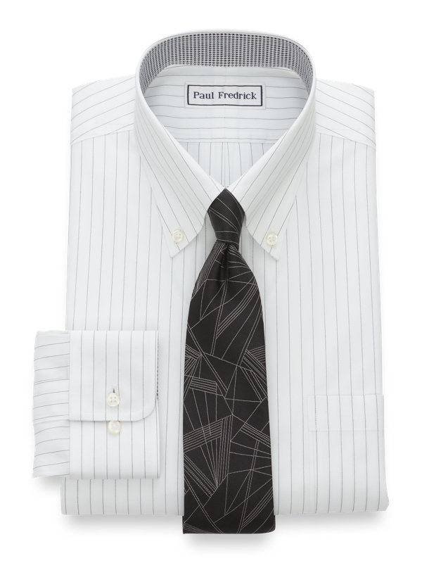 Tailored Fit Non-Iron Cotton Fine Line Stripe Dress Shirt with Contrast Trim