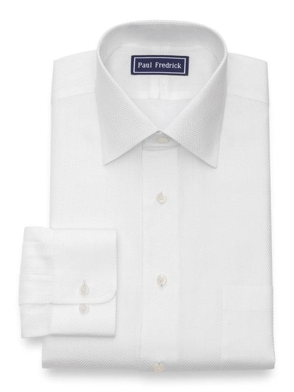 Slim Fit Pure Cotton Herringbone Button Cuff Dress Shirt