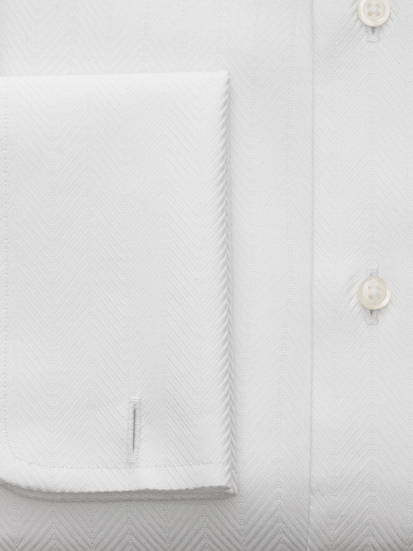 Slim Fit Pure Cotton Herringbone French Cuff Dress Shirt