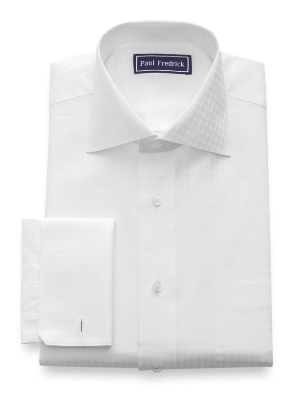 Slim Fit Pure Cotton Houndstooth French Cuff Dress Shirt