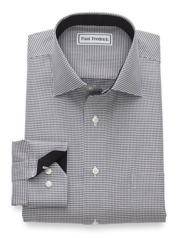 Tailored Fit Non-Iron Mini-Houndstooth Dress Shirt with Contrast Trim