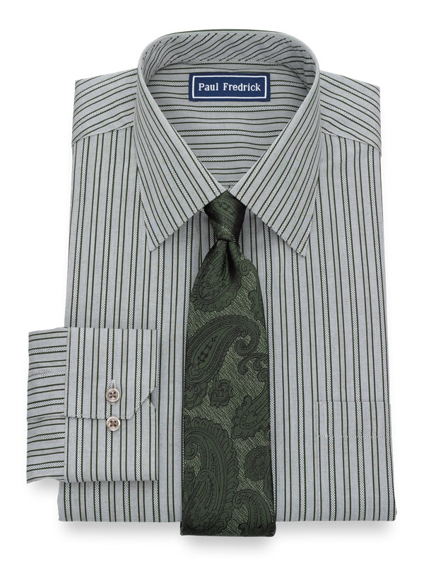 Pure Cotton Alternating Stripe Button Cuff Dress Shirt