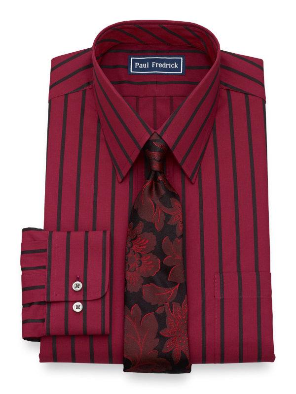 Slim Fit Pure Cotton Satin Stripe Button Cuff Dress Shirt