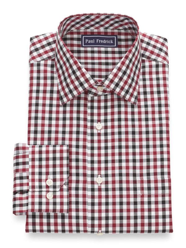 Pure Cotton Gingham Button Cuff Dress Shirt