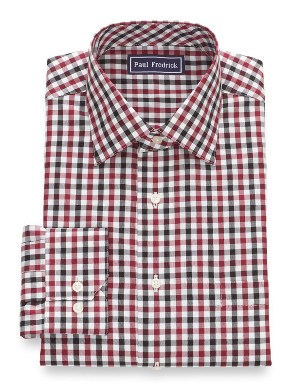 Slim Fit Pure Cotton Gingham Button Cuff Dress Shirt
