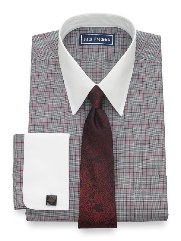 Pure Cotton Plaid French Cuff Dress Shirt