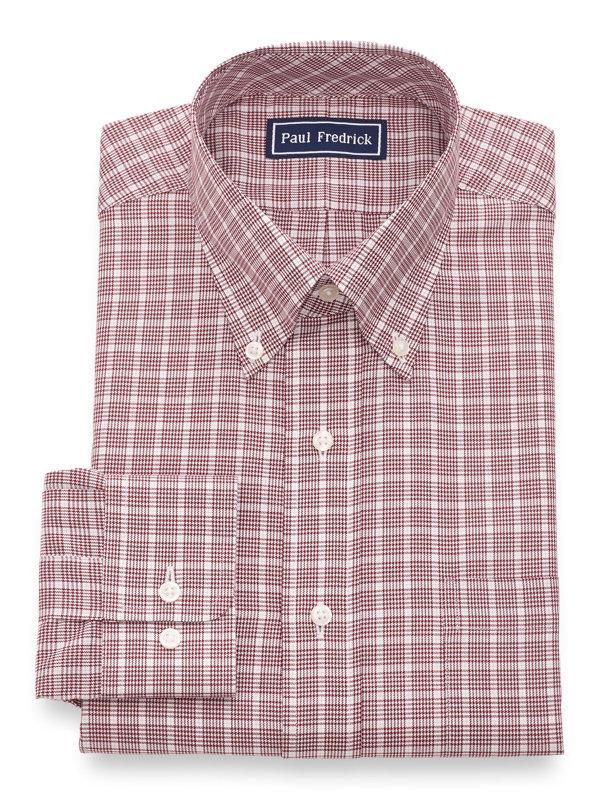 Slim Fit Pure Cotton Check Button Cuff Dress Shirt