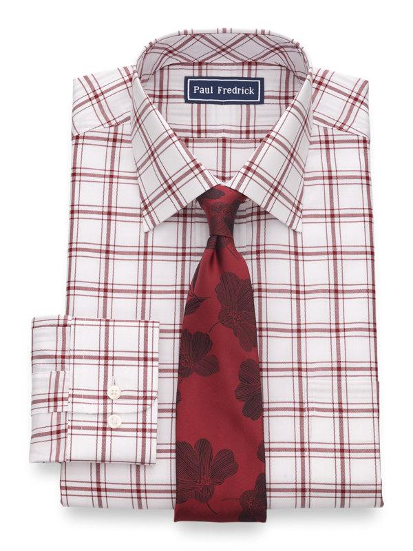 Slim Fit Pure Cotton Windowpane Button Cuff Dress Shirt