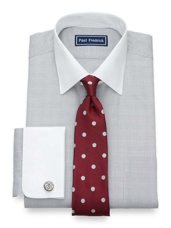 Slim Fit Pure Cotton Glen Plaid French Cuff Dress Shirt