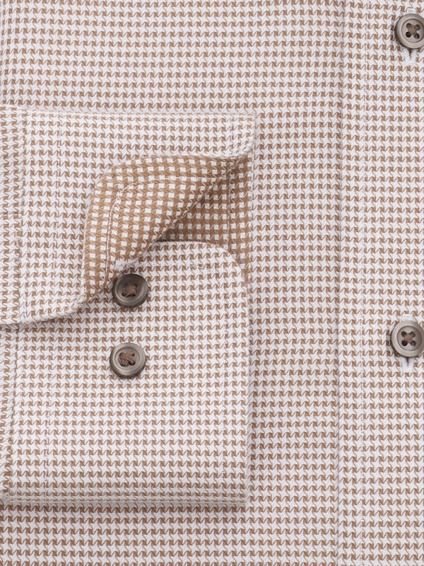 Tailored Fit Non-Iron Cotton Mini-Houndstooth Dress Shirt with Contrast Trim