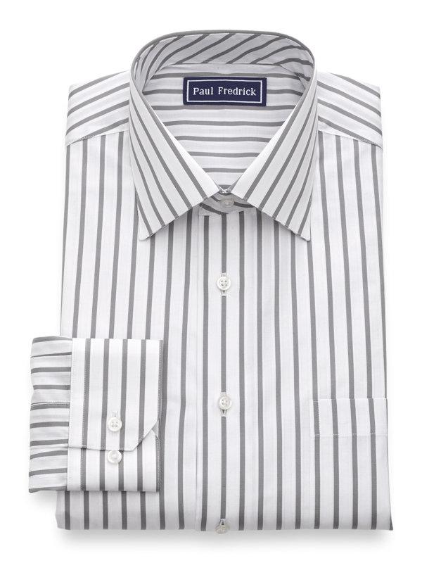 Pure Cotton Stripe Button Cuff Dress Shirt