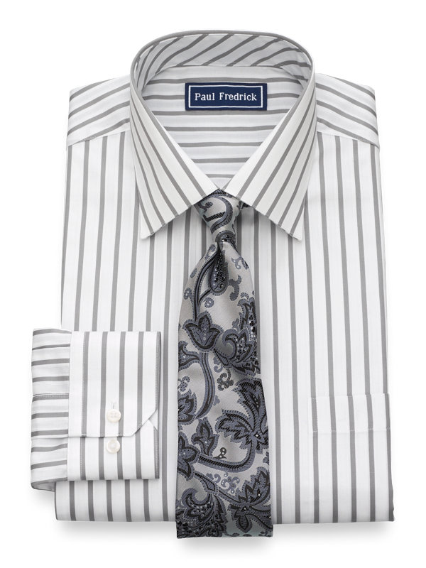 Slim Fit Pure Cotton Stripe Button Cuff Dress Shirt