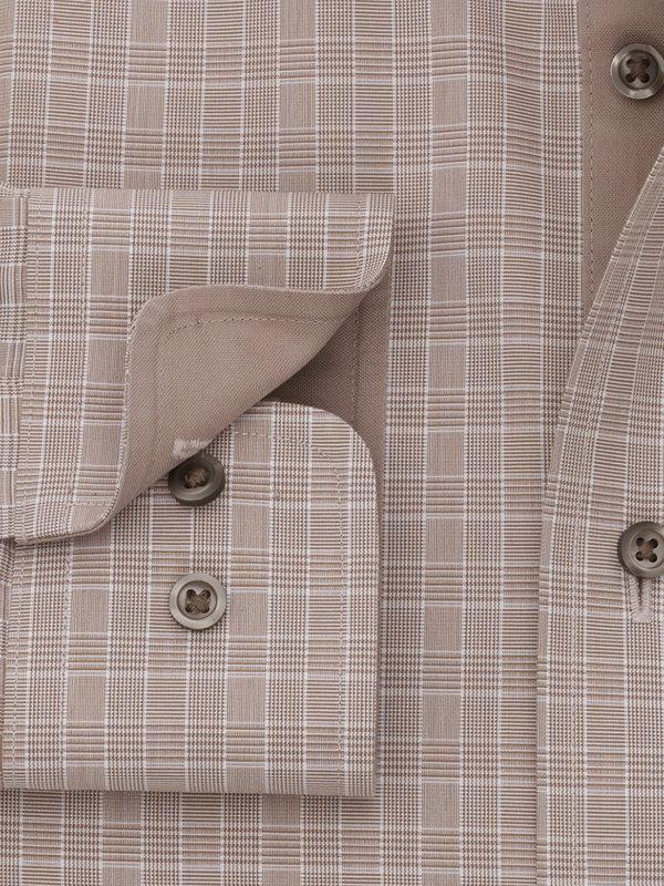 Non-Iron Cotton Broadcloth Glen Plaid Dress Shirt with Contrast Trim