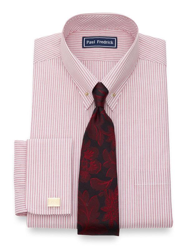 Slim Fit Pure Cotton Twin Stripe French Cuff Dress Shirt