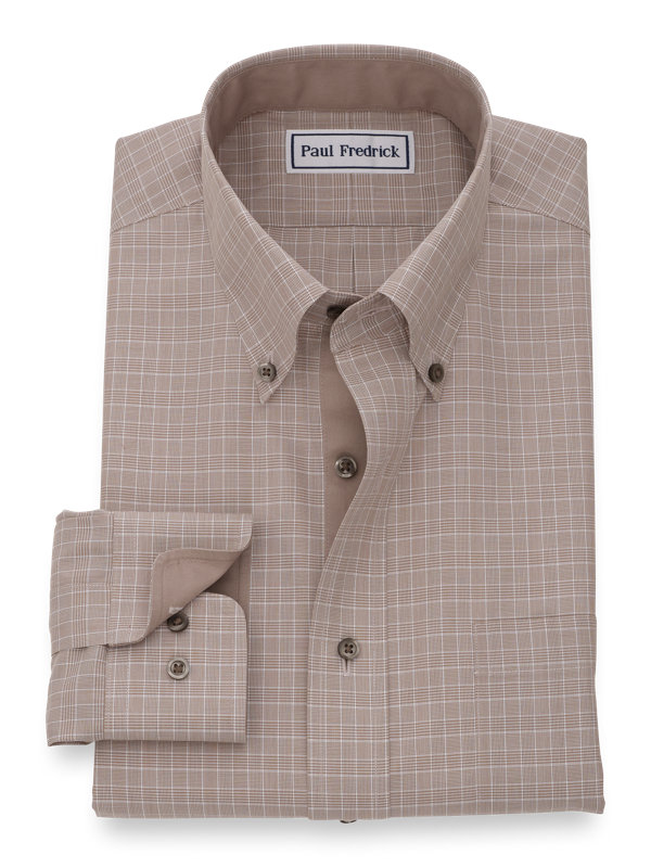 Slim Fit Non-Iron Cotton Broadcloth Solid Dress Shirt with Contrast Trim